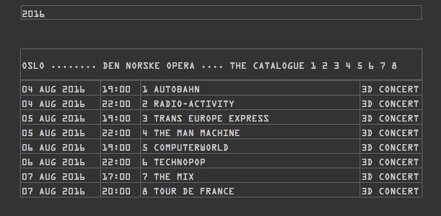 Tour, Gira, Kraftwerk, noruega