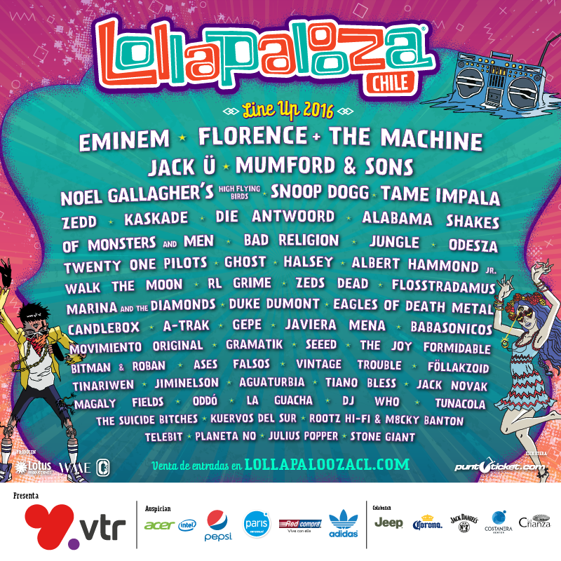 Line-up Lollapalooza Chile 2016