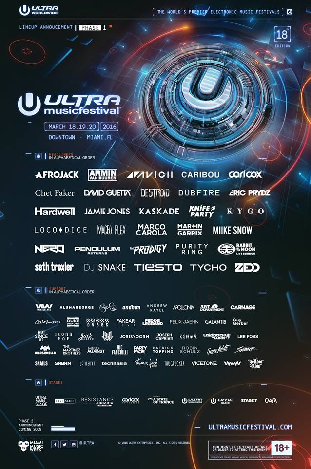 Ultra, festival, party, 2016, line-up, primera fase