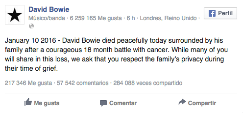 Facebook David Bowie