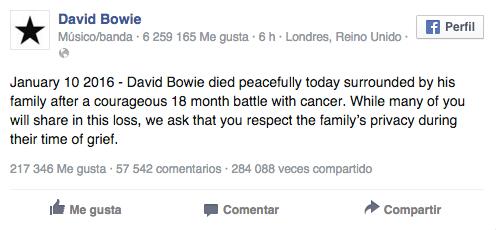 Facebook David Bowie
