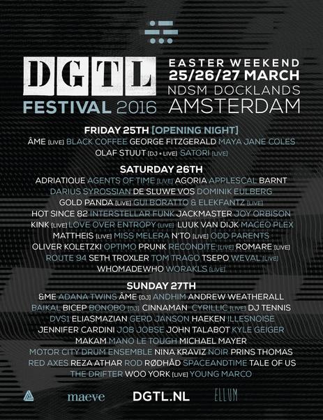 Flyer Line-up DGTL Amsterdam 2016