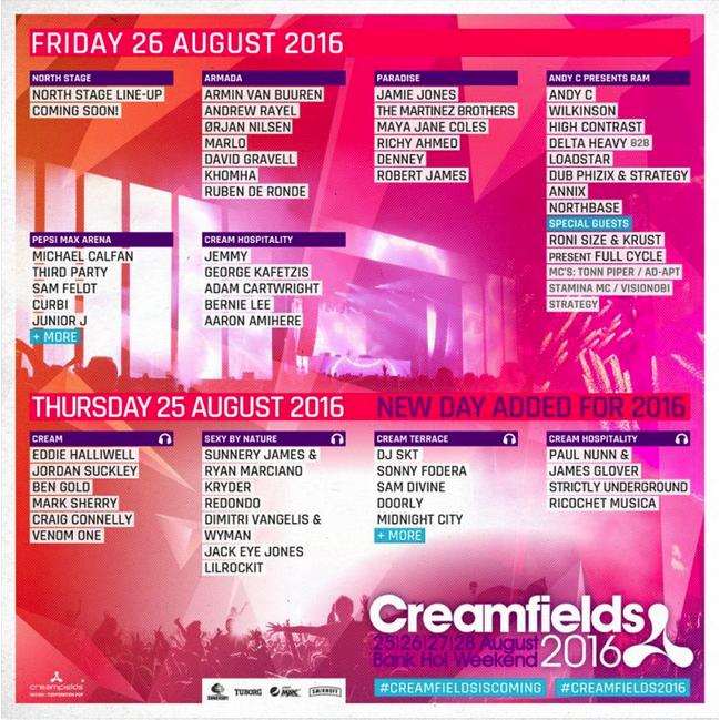 Creamfields line-up