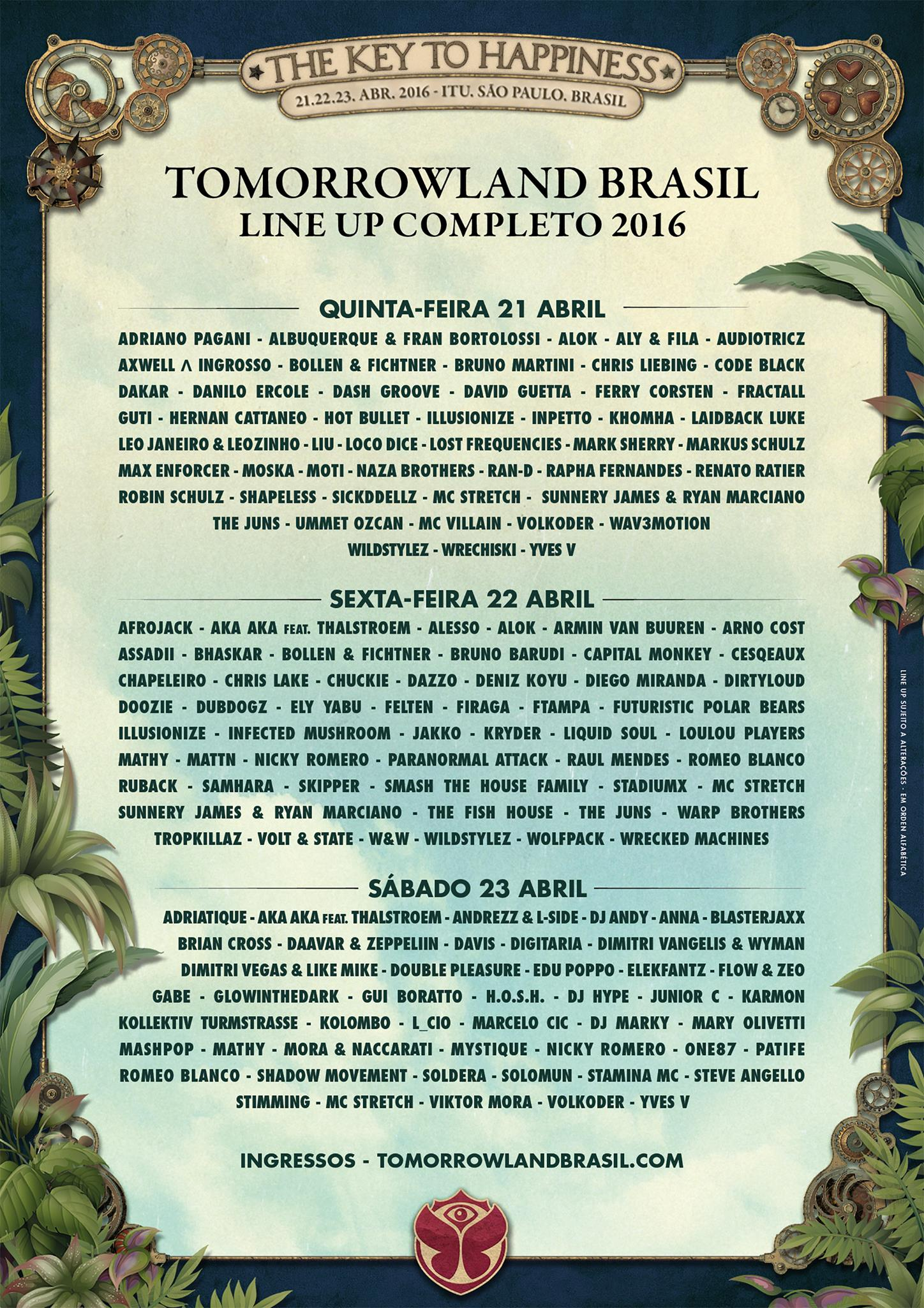 Line-up completo Tomorrowland Brasil
