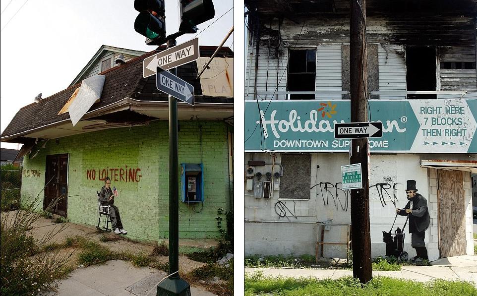 Luisiana : En 2008 Banksy produjo 14 plantillas a través de Nueva Orleans que marca el tercer aniversario del huracán Katrina. Del Naja co-escribió la banda sonora del documental.
