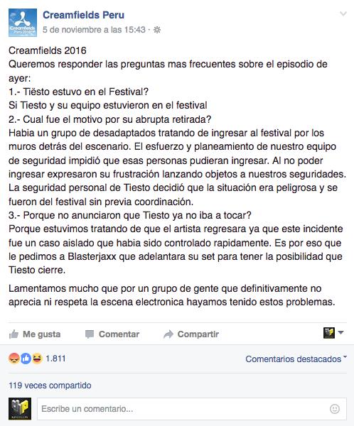 Creamfields Perú 2016