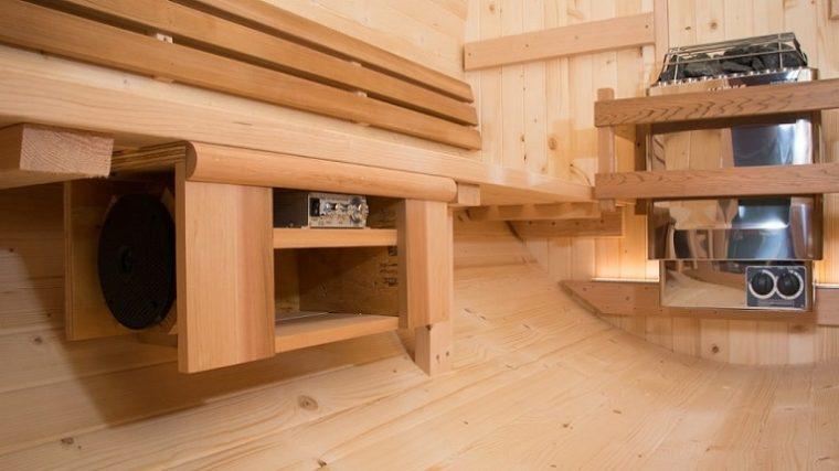 Un sauna con música electrónica
