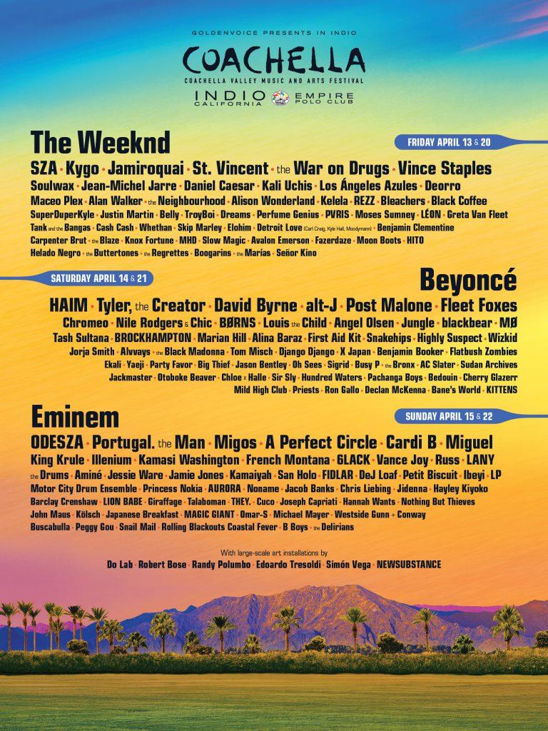 Line Up de Coachella 2018 - djprofile.tv
