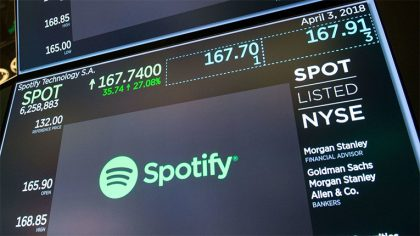 Spotify valuada en 26.5 millardos de USD en su primer día en la bolsa