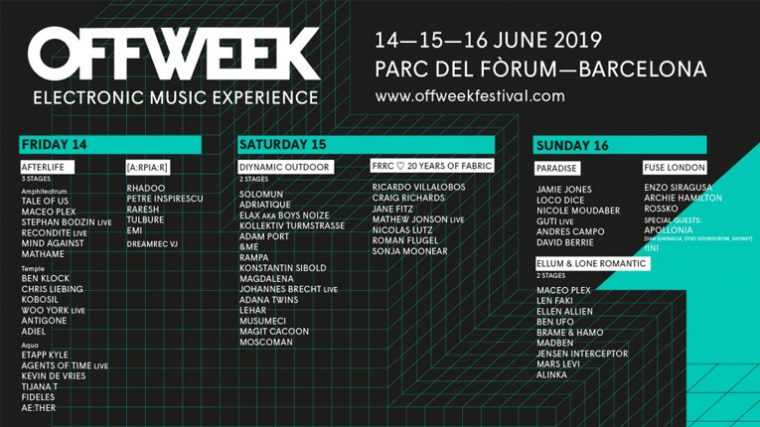 OFF WEEK BARCELONA ANUNCIA SU CARTEL COMPLETO