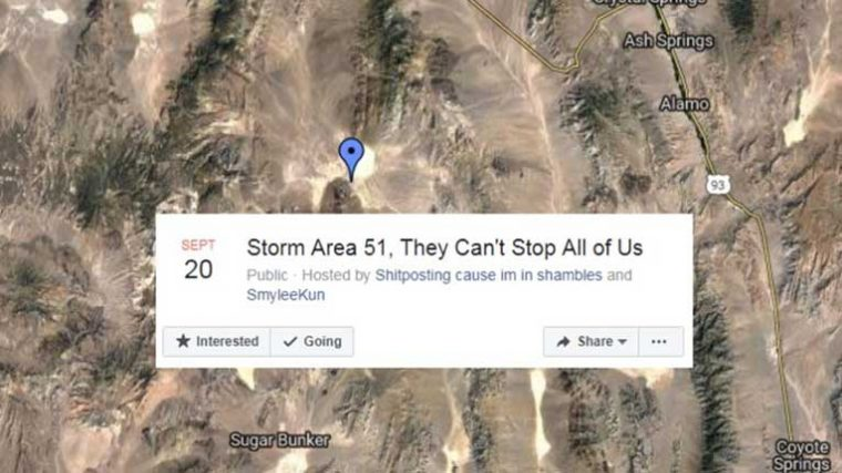 "Facebook ha cancelado el evento ""Storm Area 51, They Can't Stop All Of Us"""
