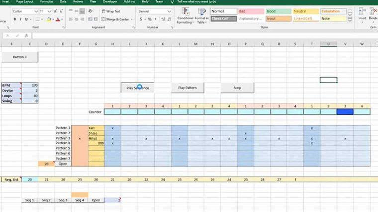 Un Youtuber crea una drum machine con Microsoft Excel