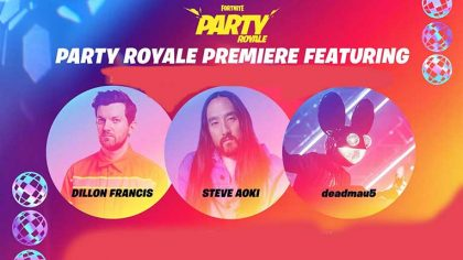 VIDEO: Deadmau5, Steve Aoki y Dillon Francis tocarán en el estreno de Fornite's Party Royale